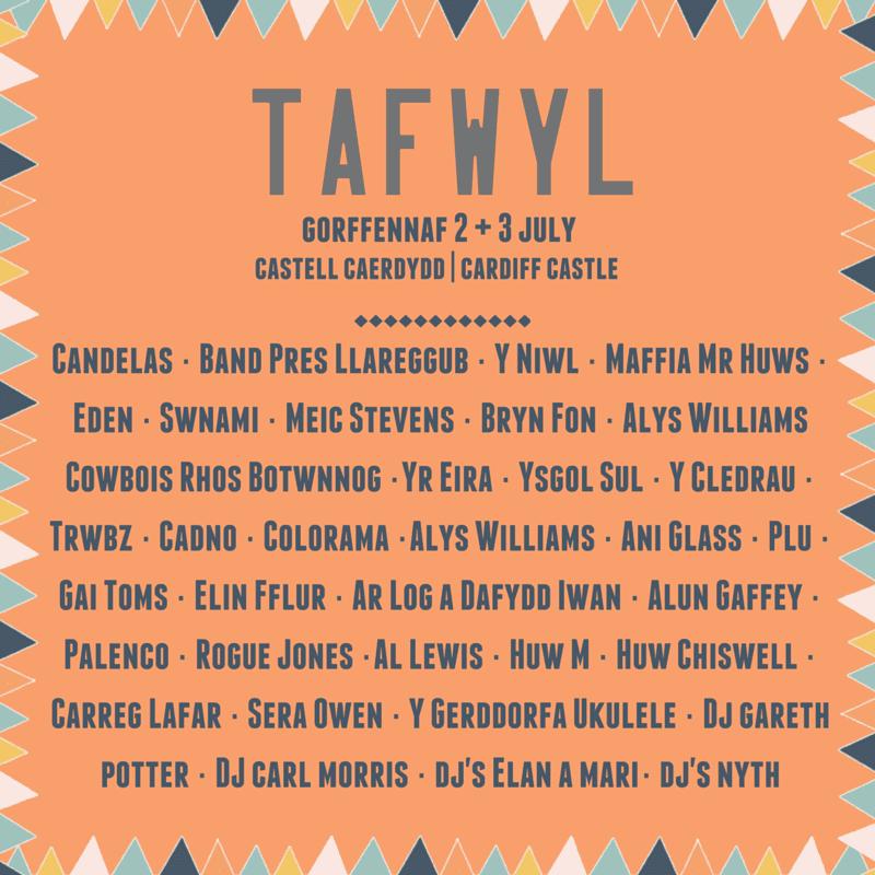 Cyhoeddi 'line up' Tafwyl 2016