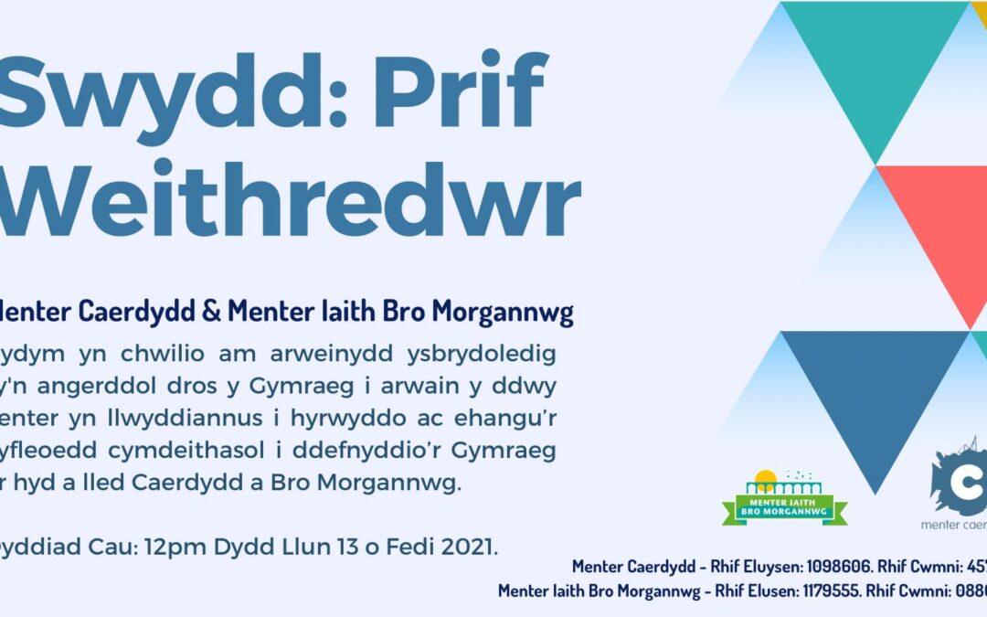 *Swydd Wag* Prif Weithredwr Menter Iaith Caerdydd a Menter Iaith Bro Morgannwg